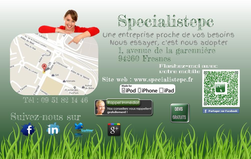 Extrêmement Cartes de visites Specialistepc Imprimables QA93